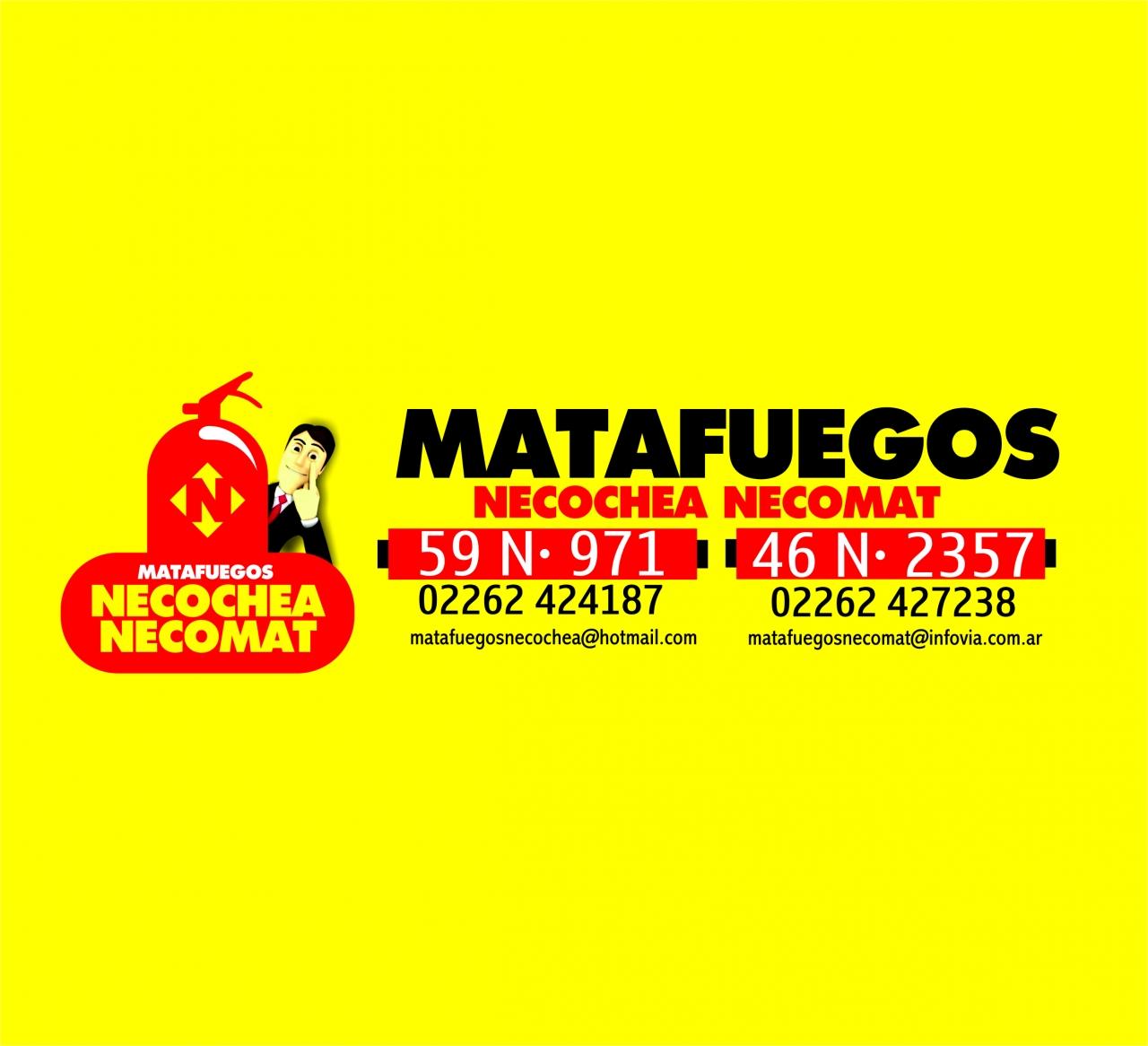 MATAFUEGOS NECOCHEA NECOMAT DRAGO REVISION SEÑALETICA CARTELES SEGURIDAD MANGUERAS INCENDIO O