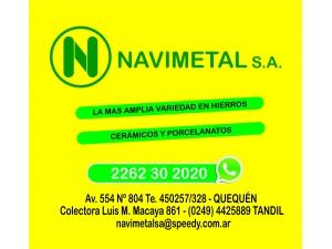 NAVIMETAL HIERROS CAÑOS MATERIALES CONSTRUCCION GRIFERIA SANITARIOS PISOS PORCELANATOS CERAMI